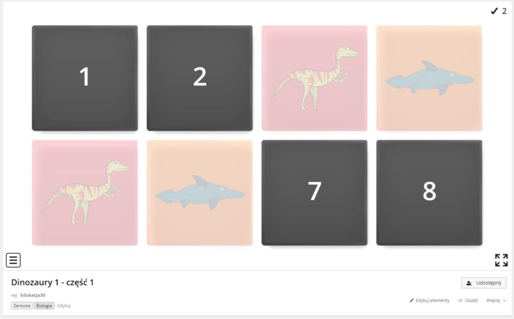 Zrzut ekranu ze strony Wordwall.net - łączenie w pary dinozaurów