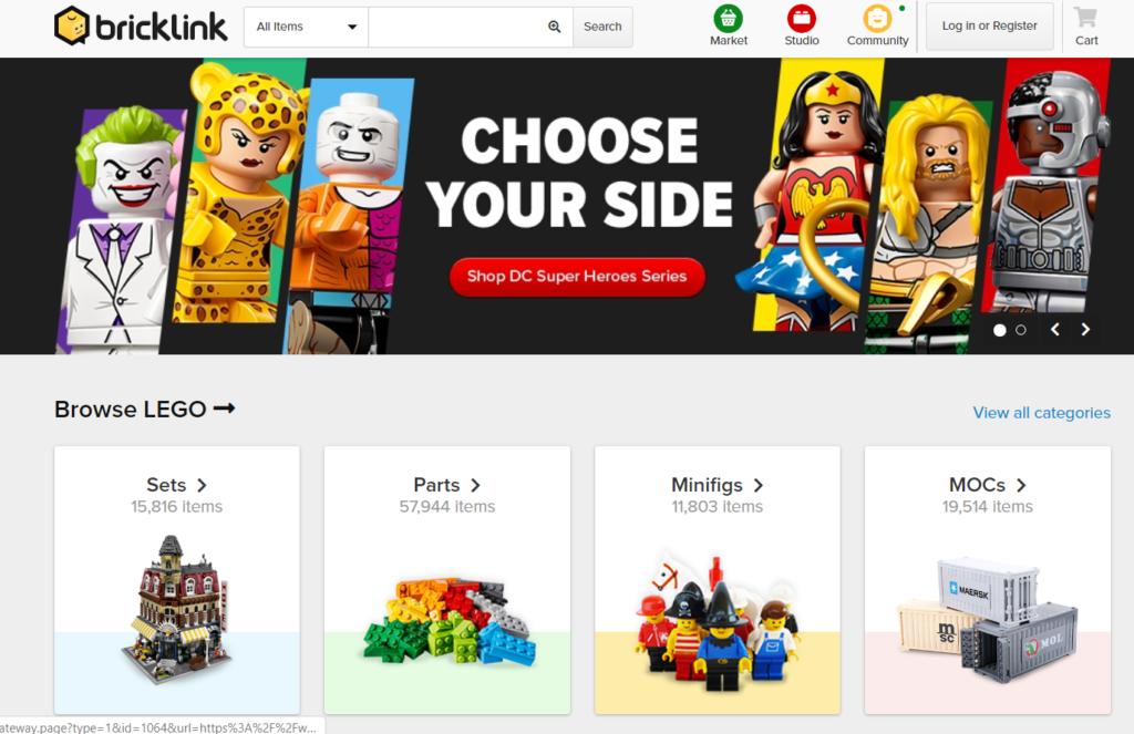 Zrzut ekranu ze strony Bricklink