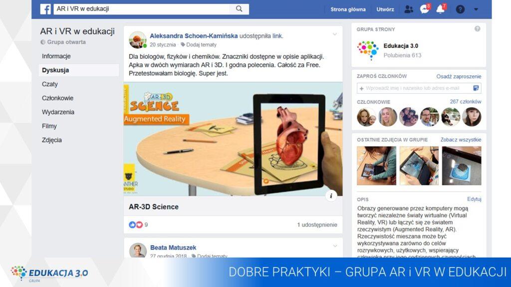 Edukacja 3.0 AR i VR w edukacji grupa społecznościowa