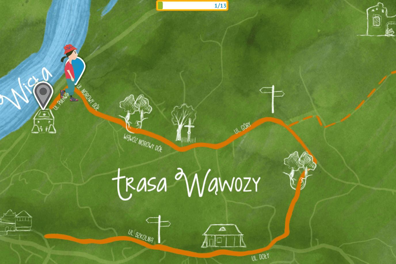 Mały Przyrodnik Przygoda Kazimierz Dolny Esterka - trasa Wisła Mapa A