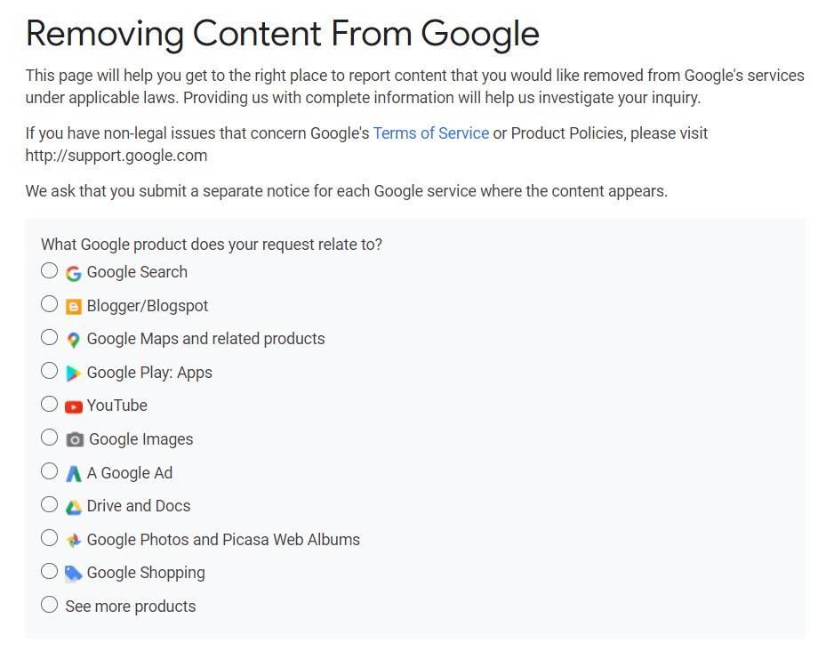 Bezpieczeństwo danych w sieci formularz usuwanie treści z Google