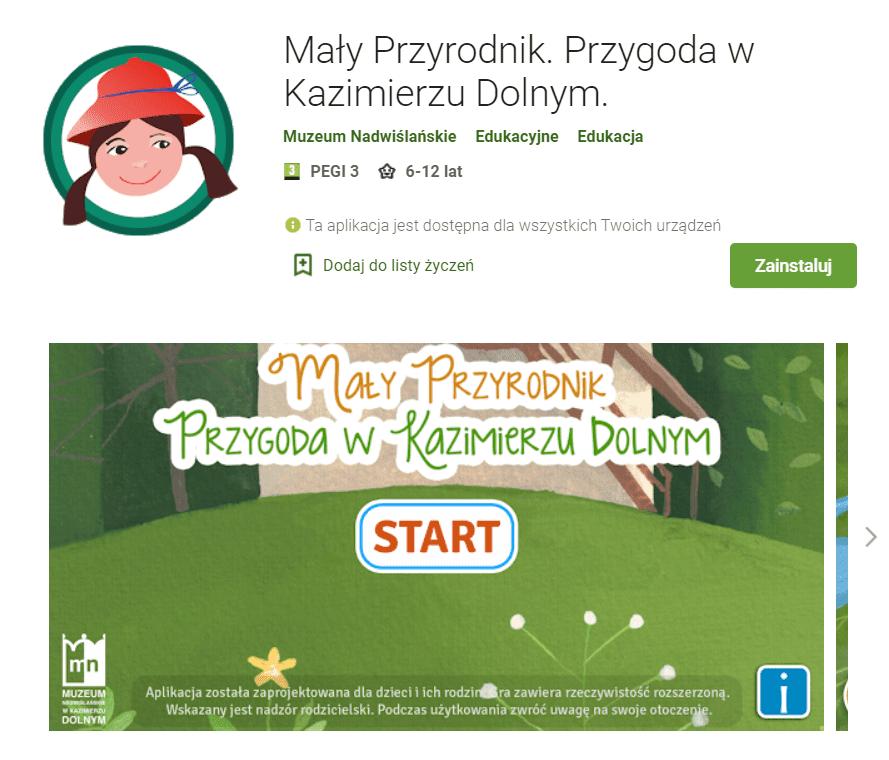 Mały Przyrodnik Kazimierz Dolny - zrzut ekranu ze sklepu Google Play